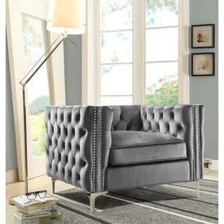 Chic Home Monet Button Tufted Silvertone Metal Y-leg Club Chair, Grey