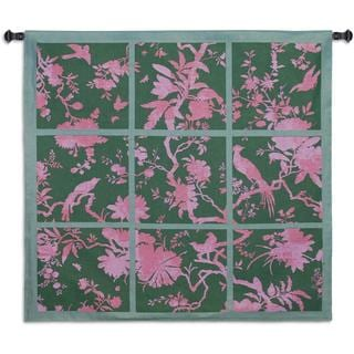 Fine Art Tapestries Floral Division Sage and Pink Cotton Small Wall Tapestry