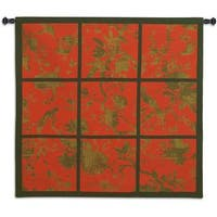 'Floral Division' Red/Gold/Black Cottton Wall Tapestry