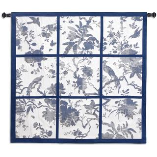 Fine Art Tapestries 'Floral Division - Blue and Oyster' Cotton Small Wall Tapestry