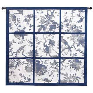 Fine Art Tapestries Floral Division Blue and Oyster Large Wall Tapestry