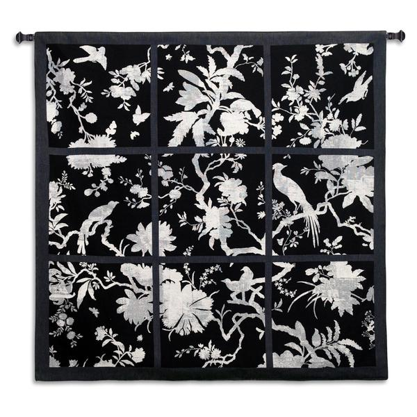 Fine Art Tapestries Floral Division Black and White Large Cotton Wall Tapestry