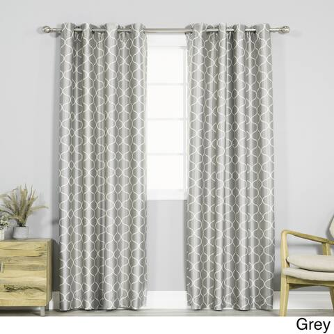 Aurora Home Faux Silk Quatrefoil Blackout Curtains - 52 x 84 - 52 x 84