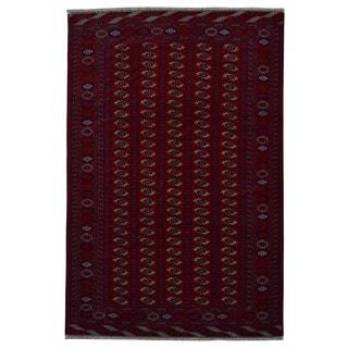 Fine Rug Collection Handmade Turkmen Bukhara Red Wool Oriental Rug (8' x 12')