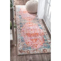 nuLOOM Vintage Floral Medallion Blush Orange Runner Rug (2'6 x 8')
