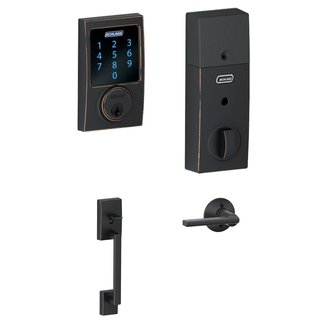 Schlage BE469CEN716 Touchscreen Deadbolt with Alarm & Lever in Aged Bronze
