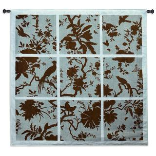 Fine Art Tapestries 'Floral Division Aqua and Brown' Large Wall Tapestry