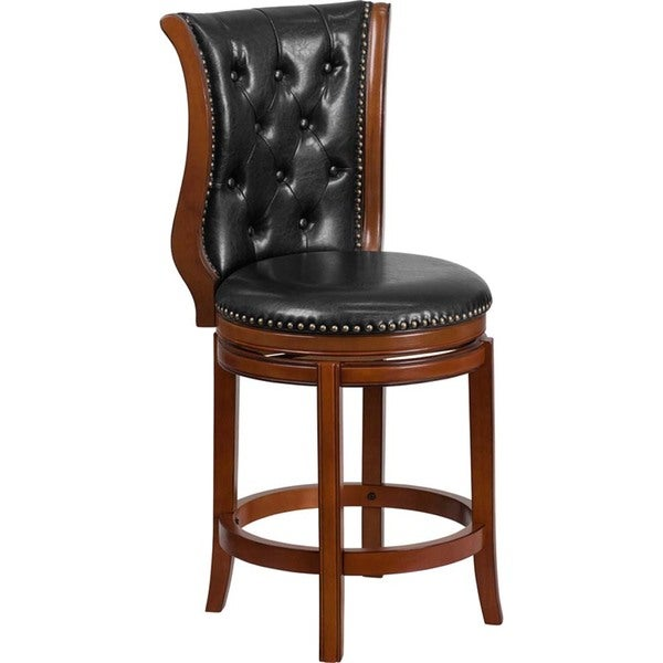 Shop Offex Tufted Black Leather Brandy Wood 26 In Counter