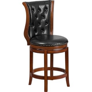 Offex Tufted Black Leather Brandy Wood 26-in Counter Height Stool