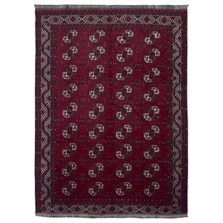 FineRugCollection Handmade Turkmen Bukhara Red Wool Oriental Rug (8'8 x 11'4)
