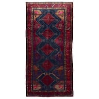 FineRugCollection Handmade Hamadan Black Wool Oriental Runner Rug