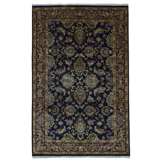 FineRugCollection Hand Knotted Kashan Navy Wool Oriental Rug (6' x 9')