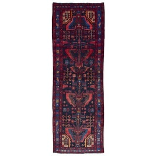 FineRugCollection Handmade Hamadan Black Wool Oriental Runner (3'7 x 10'8)