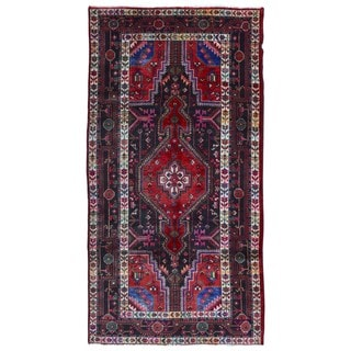 FineRugCollection Hand Made Hamadan Red Wool Oriental Rug (5'2 x 9'10)