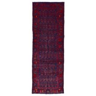 Fine Rug Collection Handmade Hamadan Red Wool Oriental Runner (3'7 x 10'4)