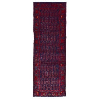 FineRugCollection Handmade Hamadan Red Wool Oriental Runner (3'7 x 10'4)
