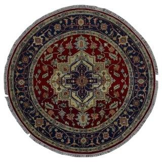 Fine Rug Collection Handmade Turkmen Serapi Black Wool Oriental Round Rug (5'10 x 5'10)
