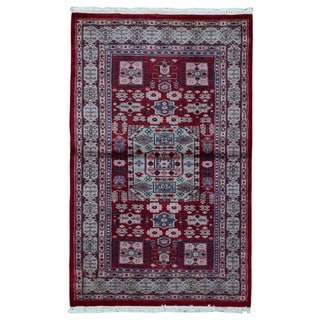 FineRugCollection Hand Made Royal Bukhara Blue Wool and Silk Oriental Rug (3'2 x 5')