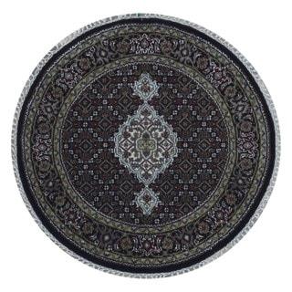 FineRugCollection Handmade Tabriz Beige Silk Oriental Round Rug (3' x 3')