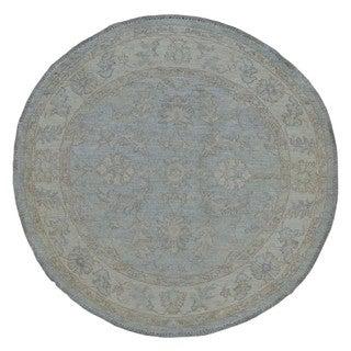 FineRugCollection Hand Made Fine Peshawar Grey Wool Oriental Rug (4' x 4')