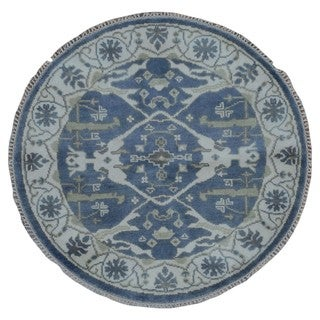 FineRugCollection Hand Made Oushak Blue Wool Oriental Rug (4' x 4')