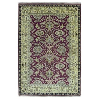 FineRugCollection Hand Knotted Peshawar Burgundy Wool Oriental Rug (6' x 9')