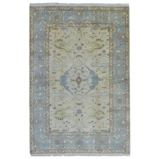 FineRugCollection Hand Knotted Oushak Blue Wool Oriental Rug (6'2 x 9'2)
