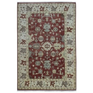FineRugCollection Hand Knotted Oushak Brick Red Wool Oriental Rug (6'3 x 9'2)