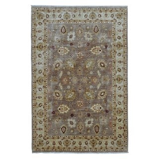 FineRugCollection Hand Knotted Fine Pakistan Peshawar Brown Wool Oriental Rug (6'1 x 9')