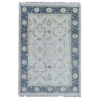 FineRugCollection Hand Knotted Oushak Blue Wool Oriental Rug (6'1 x 8'9)