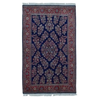 FineRugCollection Hand Knotted Sarouk Navy Wool Oriental Rug (6'1 x 9'9)