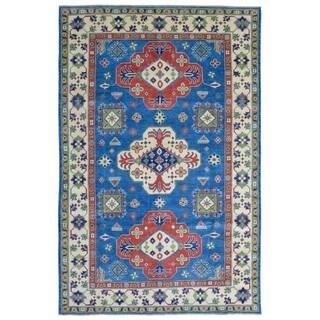 FineRugCollection Hand-knotted Pakistan Kazak Blue Wool Oriental Rug (6' x 9')