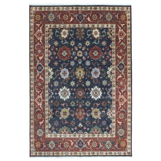 FineRugCollection Hand Knotted Mahal Navy Wool Oriental Rug (6' x 8'10)