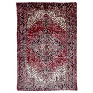 FineRugCollection Hand Knotted Semi-Antique Persian Heriz Red Wool Oriental Rug (7'6 x 10'7)