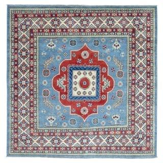 FineRugCollection Hand Knotted Pakistan Kazak Blue Wool Oriental Rug (6'7 x 6'7)