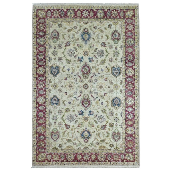 Shop Beige Wool Hand Knotted Oriental Persian Area Rug 6: Shop FineRugCollection Hand-knotted Peshawar Beige Wool