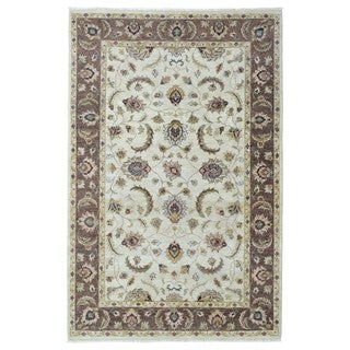 FineRugCollection Hand Knotted Kashan Brown Wool Oriental Rug (6' x 9')
