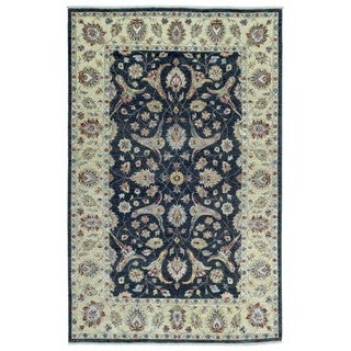 FineRugCollection Hand Knotted Tabriz Navy Wool Oriental Rug (6' x 9')