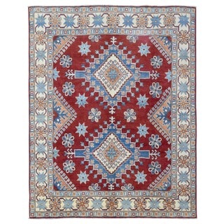 Fine Rug Collection Hand-knotted Pakistan Kazak Red Wool Oriental Rug (6'8 x 8'4)