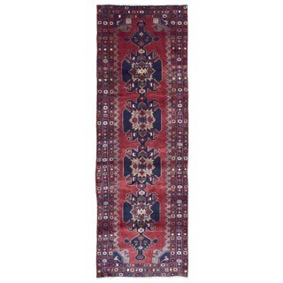 Fine Rug Collection Hand-knotted Semi-antique Persian Hamadan Red Wool Oriental Runner (3'3 x 10')