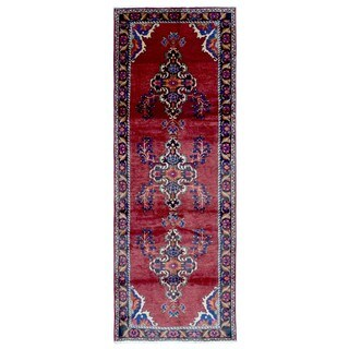 FineRugCollection Hand-knotted Semi-antique Persian Hamadan Red Wool Oriental Runner (3'8 x 10'2)