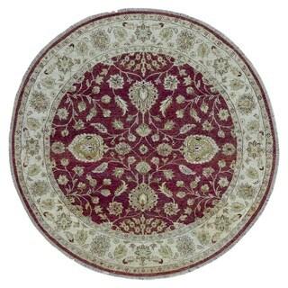 FineRugCollection Hand-knotted Peshawar Burgundy Wool Oriental Round Rug (6' x 6')