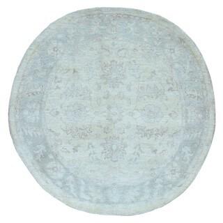 Fine Rug Collection Hand-knotted Very Fine Pakistan Peshawar Beige Wool Oriental Round Rug (5' x 5')