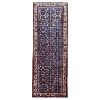 Fine Rug Collection Hand-knotted Semi-antique Persian Hamadan Blue Oriental Runner (3'3 x 9'7)