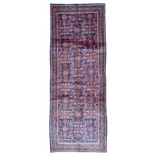 FineRugCollection Hand-knotted Semi-antique Persian Hamadan Red Wool Oriental Runner (3'7 x 9'6)