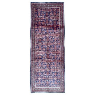 Fine Rug Collection Hand-knotted Semi-antique Persian Hamadan Red Wool Oriental Runner (3'7 x 9'6)