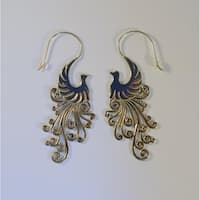 Handmade White Brass Peacock Earrings by Spirit Tribal Fusion (Indonesia) - Silver