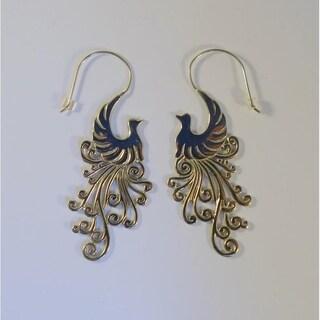 Handmade White Brass Peacock Earrings by Spirit Tribal Fusion (Indonesia)