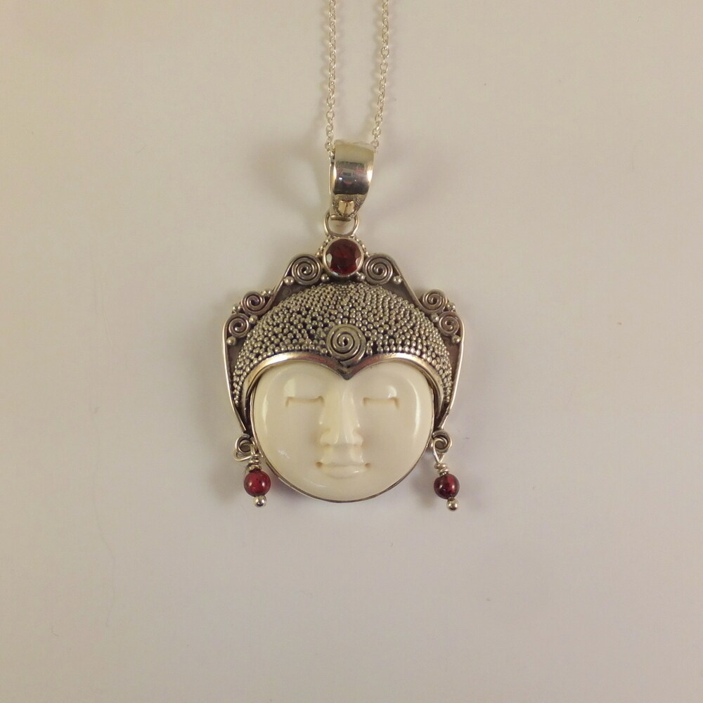 Spirit Handmade Carved Bone Moon Face Goddess Necklace Indonesia Sterling Silver From Overstock Com Daily Mail