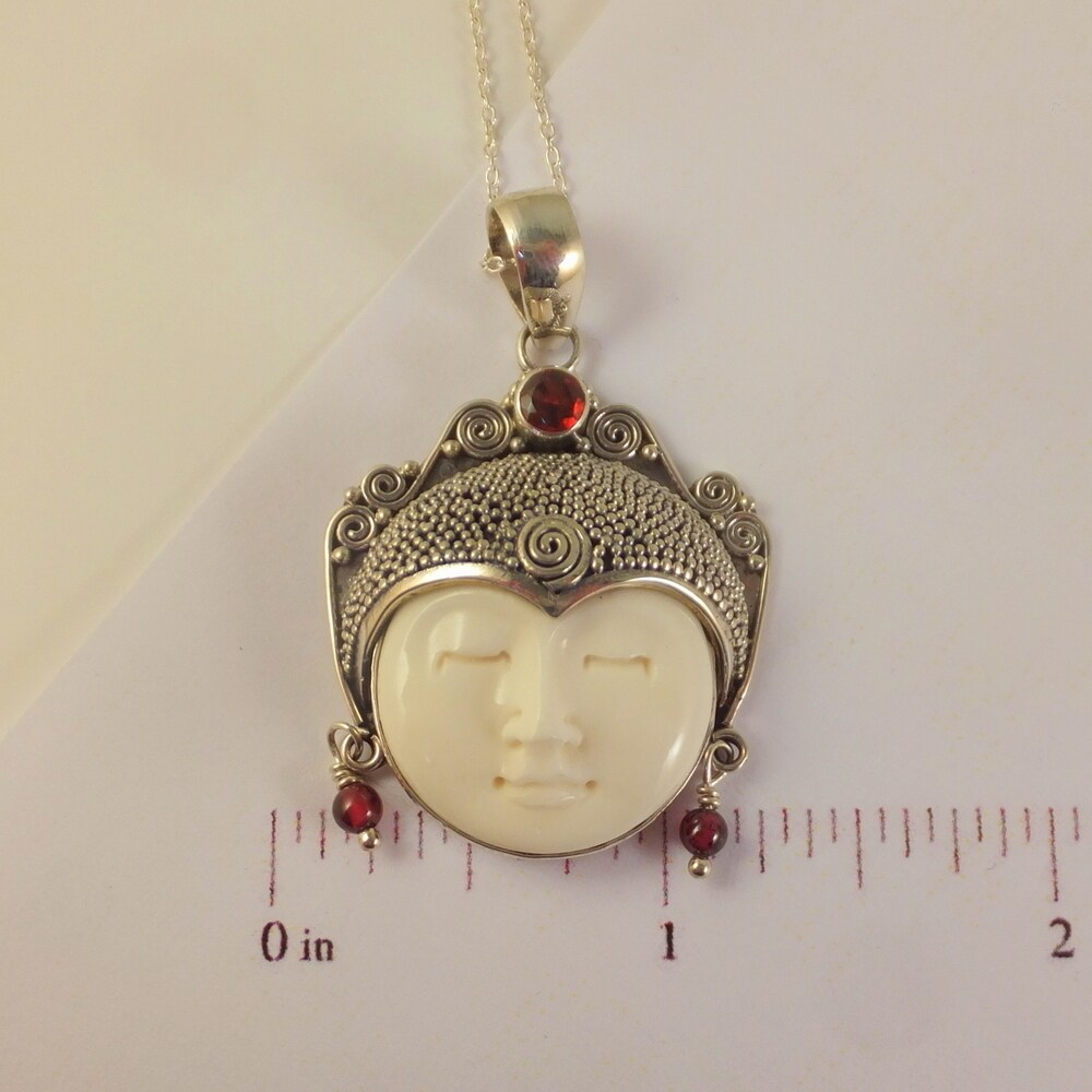 Shop Handmade Carved Bone Moon Face Goddess Necklace Indonesia Overstock 14267979